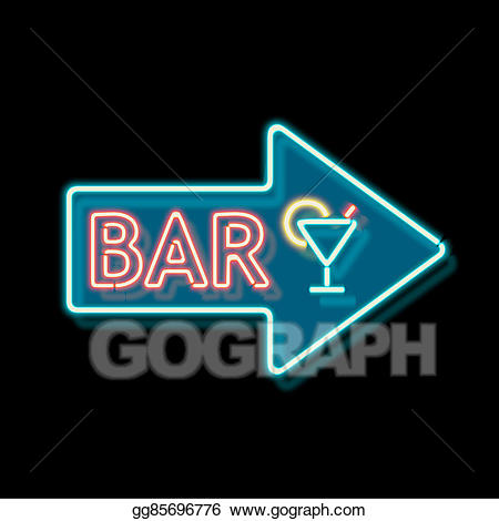 Bar clipart word. Drawing vintage neon sign