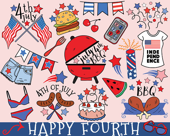 Barbecue clipart 4th july.  th of vector