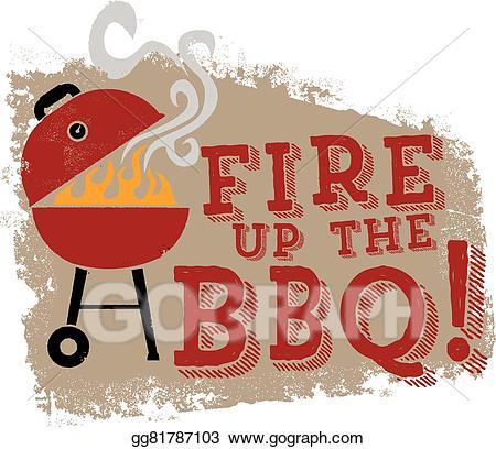 Barbecue clipart backyard bbq. Vector art fire up