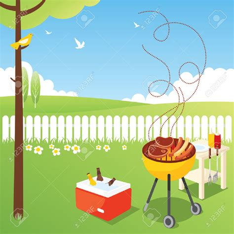 Summer fun or grilling. Barbecue clipart backyard bbq