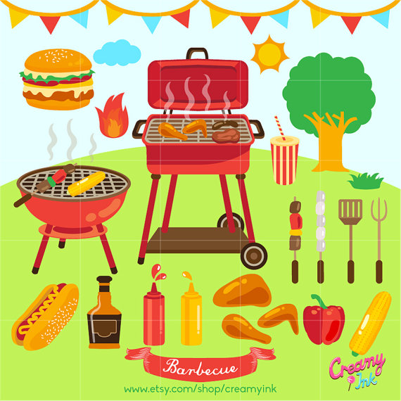Barbecue digital clip art. Grilling clipart patio party