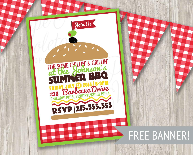 Barbecue clipart banner. Bbq invitation summer picnic
