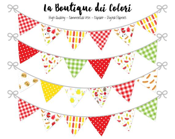 Barbecue clipart banner. Bunting banners party flags