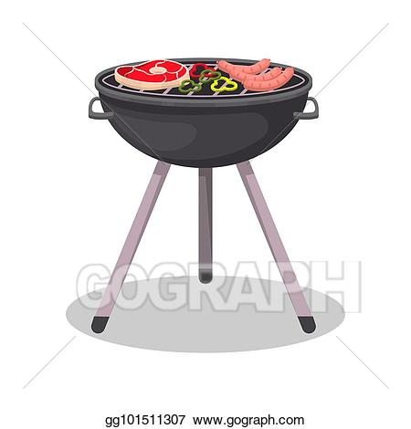 Barbecue clipart barbecue meat. Vector art grill with