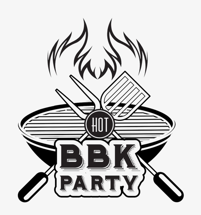 Barbecue clipart black and white. Party food posters fork