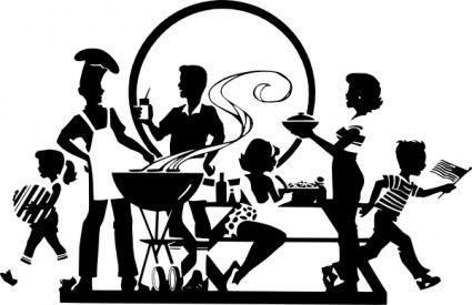 Barbecue clipart black and white. Cartoon silhouette labor day