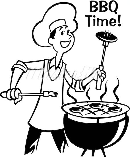 Bbq clipart black and white. Grill free gclipart com