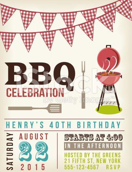 Barbecue clipart block party. Retro bbq invitation template