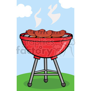 Grilled sausages on royalty. Barbecue clipart cartoon