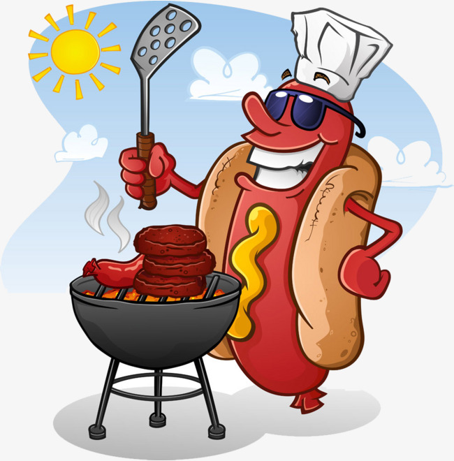 Hot dog master png. Barbecue clipart cartoon