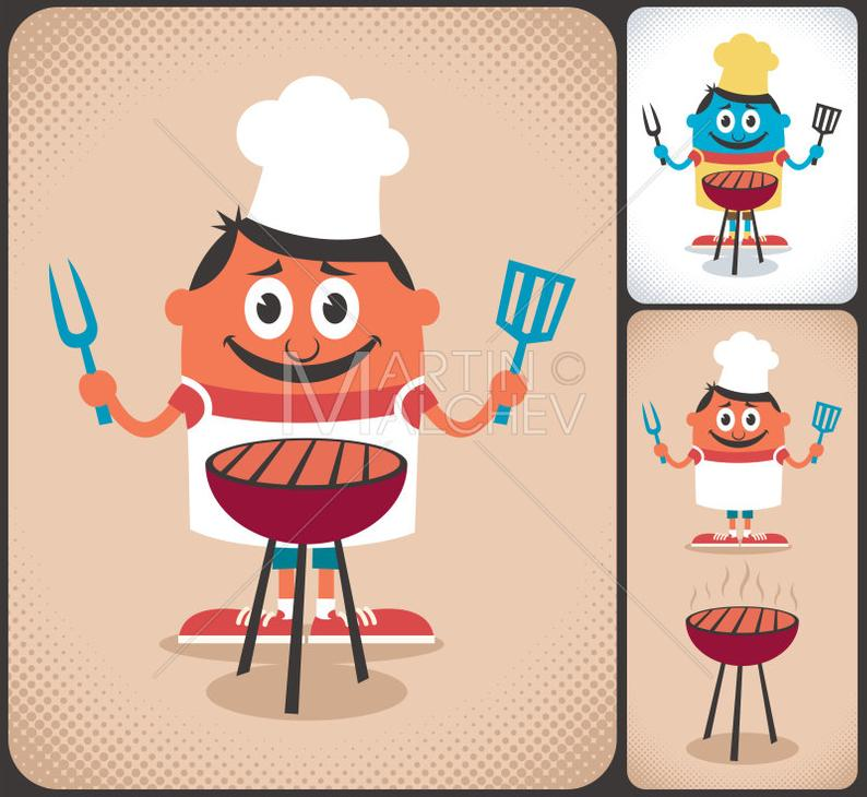 Barbecue clipart cartoon. Barbeque vector illustration bbq