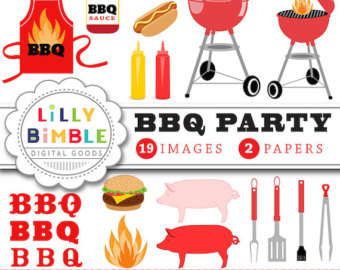 Barbecue clipart celebration. Etsy party gingham hot