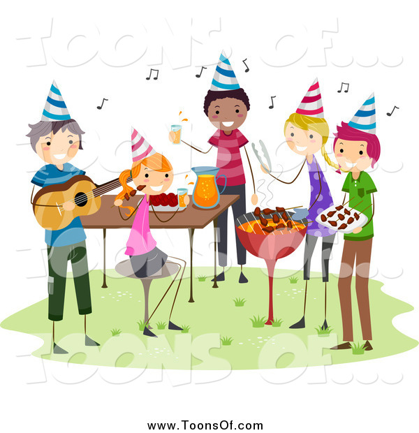 Barbecue clipart celebration. Of a group having