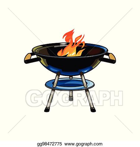 Vector round barbecue burning. Bbq clipart charcoal grill