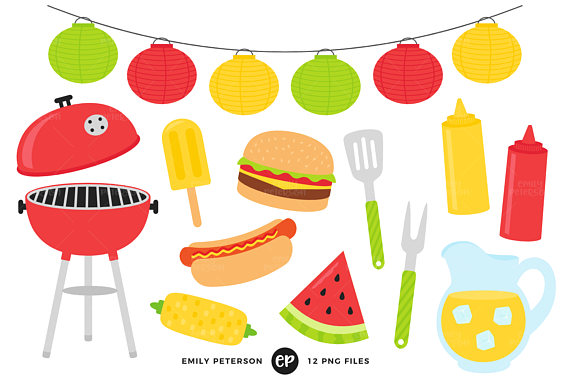 Summer bbq cook out. Barbecue clipart clip art