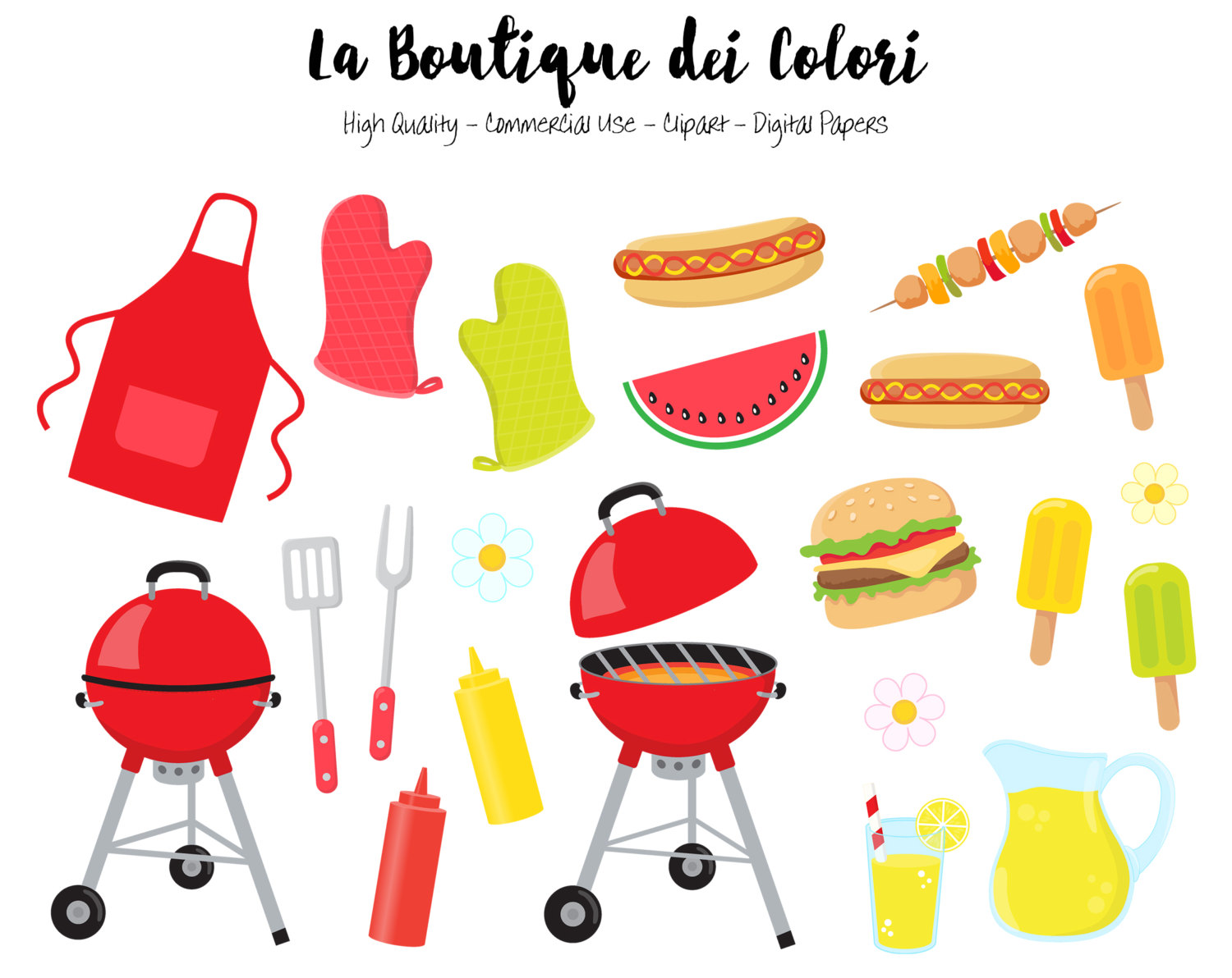 Barbecue clipart clip art. Bbq cute digital illustrations