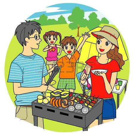 Bbq group cookout pencil. Barbecue clipart family barbecue