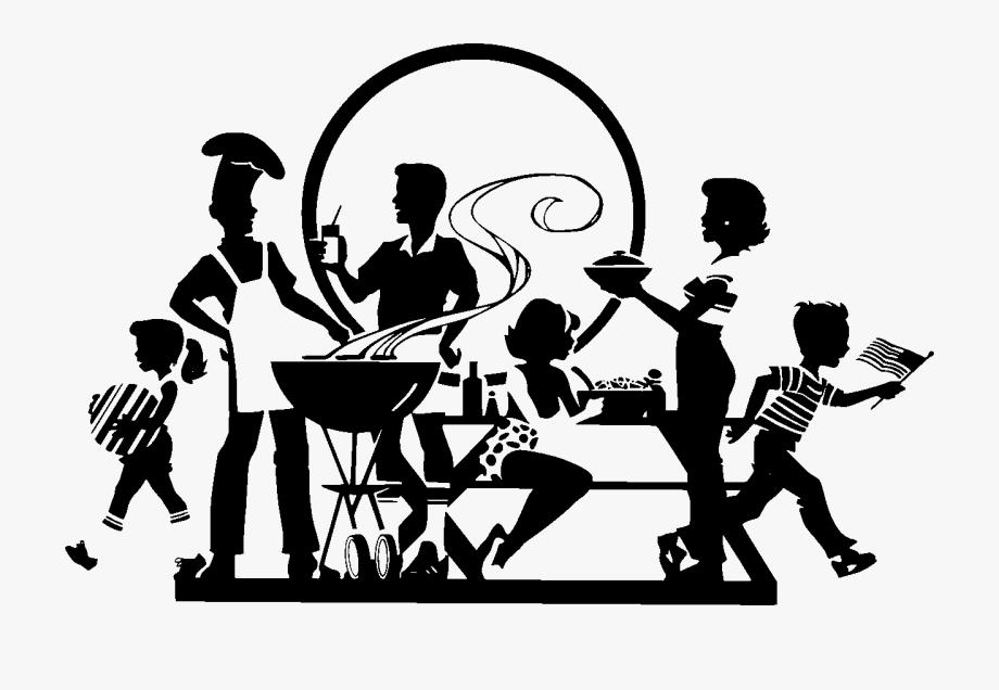 Barbecue clipart family barbecue. Clip art black picnic