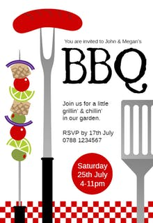 Free bbq party invitation. Barbecue clipart flyer