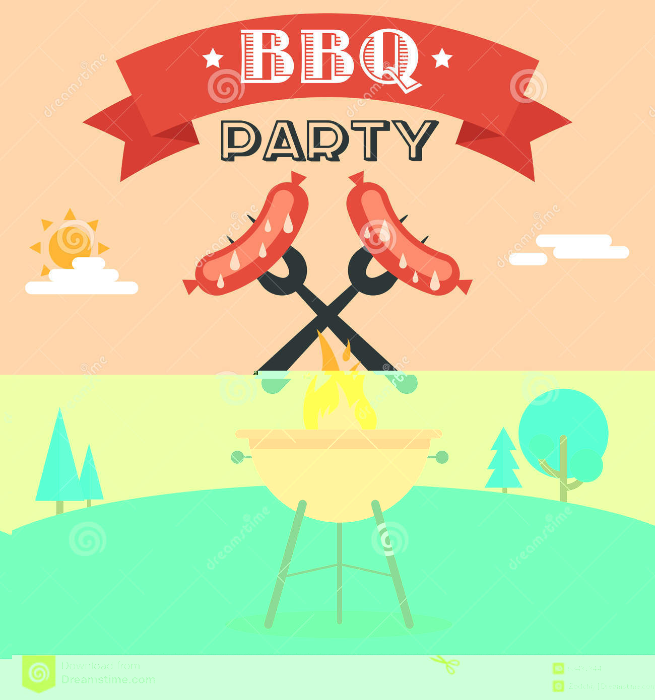 Barbecue clipart flyer. Bbq party template ianswer