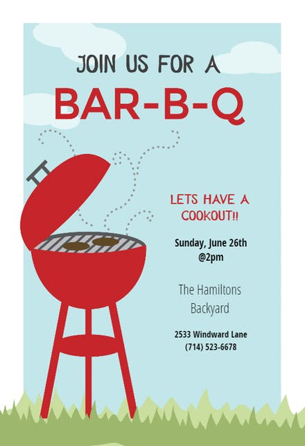 Bbq party invitation templates. Barbecue clipart flyer