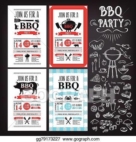 Vector party invitation bbq. Barbecue clipart flyer