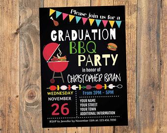 Bbq etsy party invitation. Barbecue clipart graduation