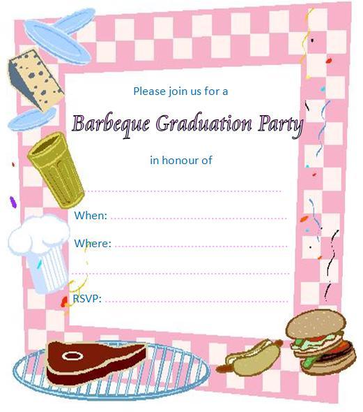 Barbecue clipart graduation. Barbeque printable invitations