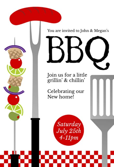 Bbq party invitation templates. Cookout clipart flyer
