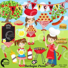 Barbecue clipart kid. Bbq picnic grill food
