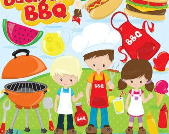 Barbecue clipart kid. Bbq etsy