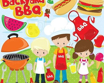 Etsy off sale backyard. Barbecue clipart kid