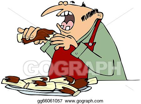 Eating ribs stock illustration. Barbecue clipart man