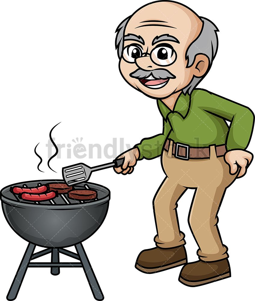 Grilling clipart hungry. Old man barbecuing greeting
