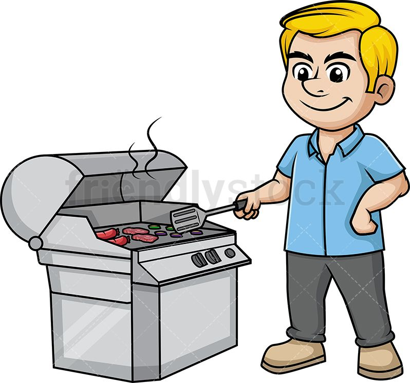 Clipart kitchen man. Cooking on the grill