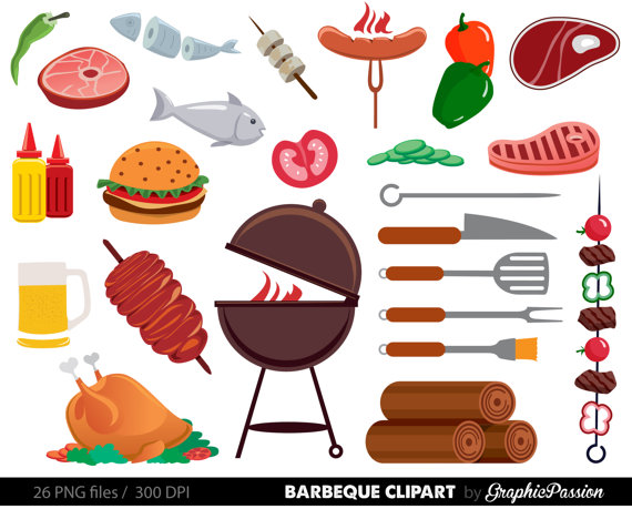 Cookout barbeque party food. African clipart backyard bbq