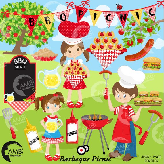 Barbecue grill food . Bbq clipart picnic