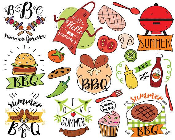 Summer vector barbecue doodle. Bbq clipart picnic