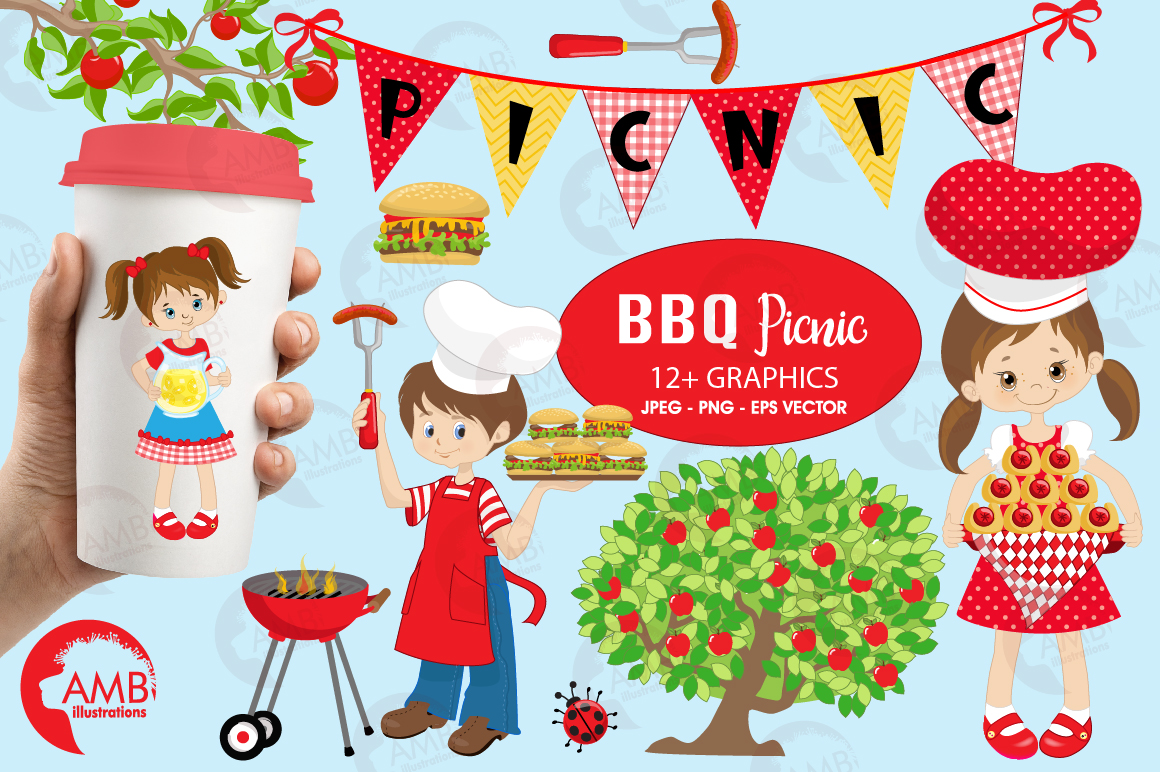 Barbecue grill food party. Bbq clipart picnic