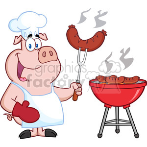 Royalty free happy chef. Barbecue clipart pig