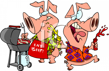 Cartoon picture of pigs. Barbecue clipart pig
