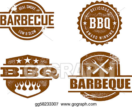 Vector art stamps drawing. Barbecue clipart sign