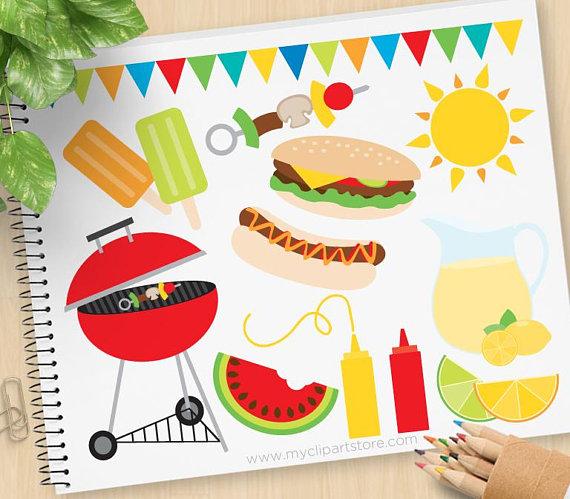 Bbq picnic lemonade hamburgers. Barbecue clipart summer