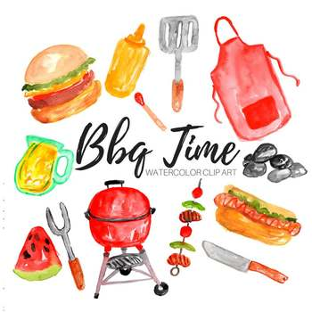Barbecue clipart summer. Watercolor bbq