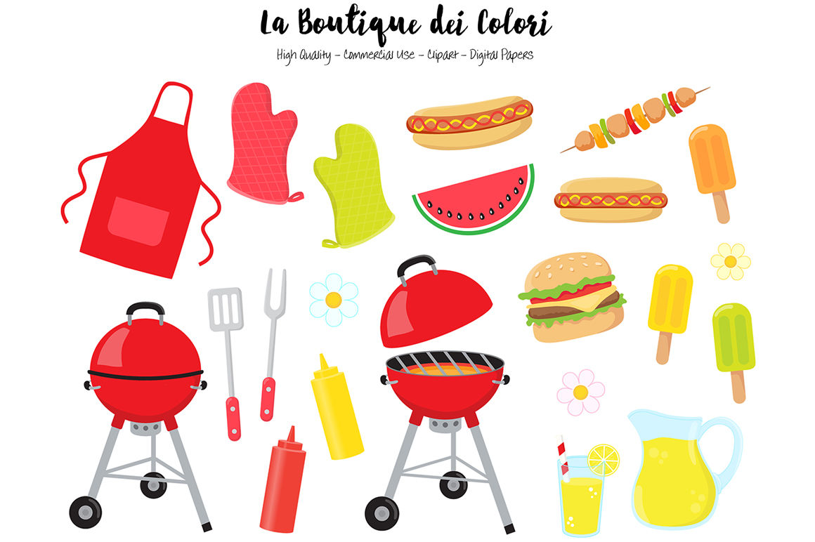 Barbeque by la boutique. Barbecue clipart summer