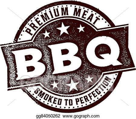 Vector stock bbq sign. Barbecue clipart vintage