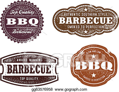 Vector stock bbq stamps. Barbecue clipart vintage
