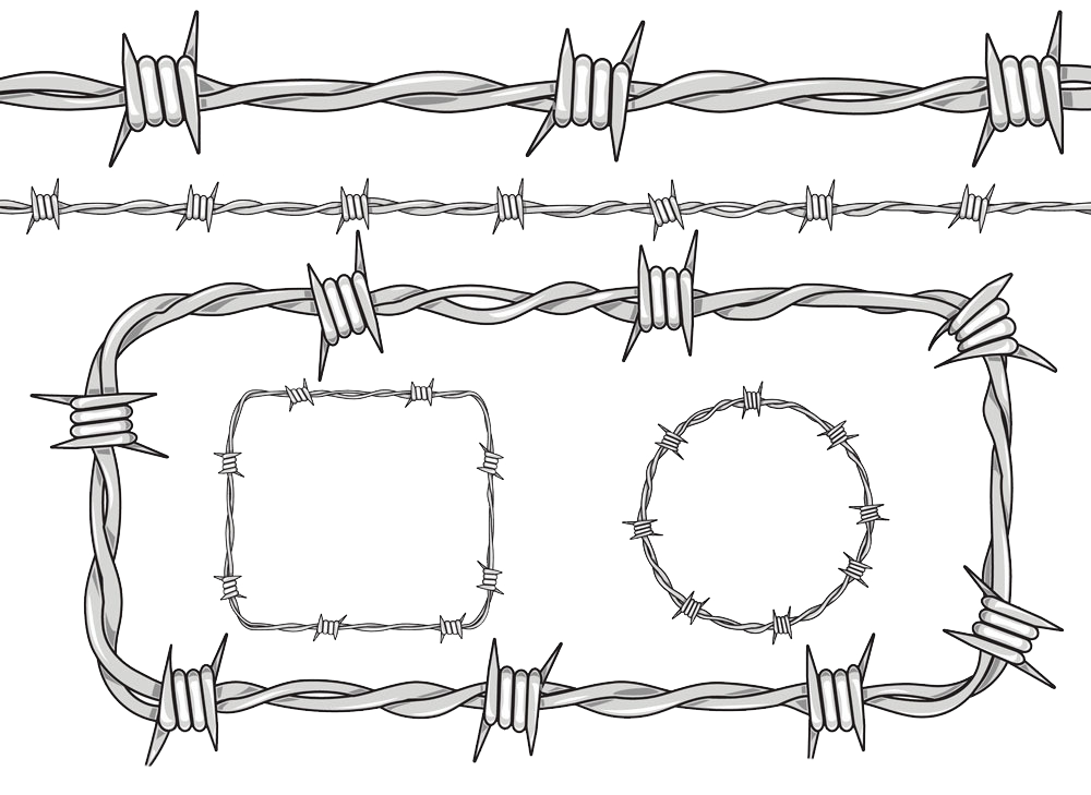 Fence drawing material transprent. Barbed wire frame png