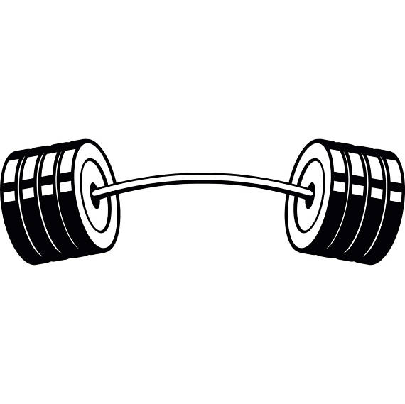 Curved bar weightlifting bodybuilding. Barbell clipart