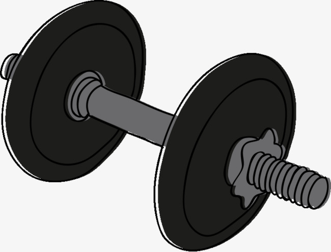 Barbell clipart black and white. Cartoon fitness equipment png